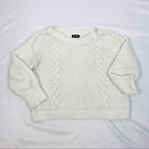 Express oversized boxy loose cream sweater